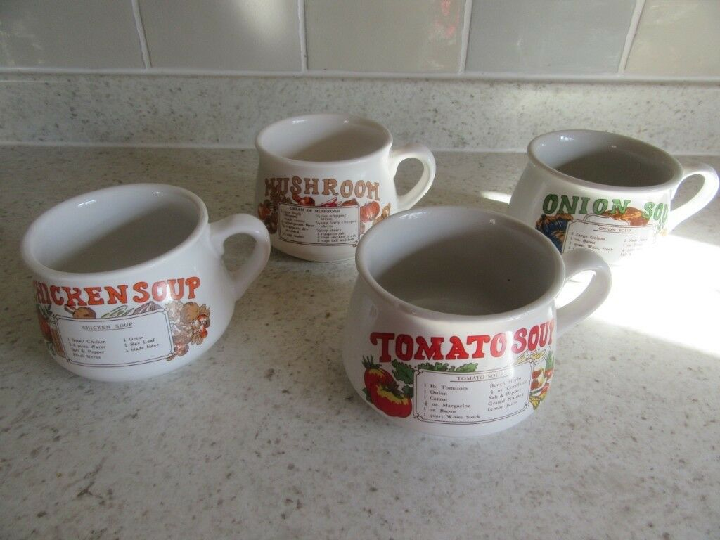 Vintageretro Soup Bowlscups Nice Condition Set Of 4