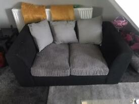 Small 2+3 seaters black and grey sofa