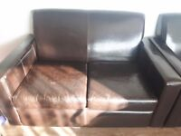 Brown leather sofa 2 brown leather chairs