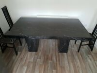 Granite dining table with marble effect for 6 persons