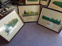 Three framed art prints railway locomotive pictures Prescott Pickup Ltd
