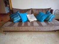 Impala brown microfibre modern 3 piece suite ex fultons range. Chaise, single chair & 3 seater sofa