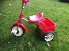 Child's trike with rear loading box in good condition, can be viewed in Oakdale. Ron 07860629420
