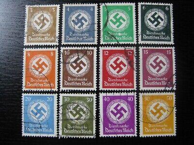THIRD REICH Mi. #132-143 scarce used stamp set (with watermark)! CV $48.00