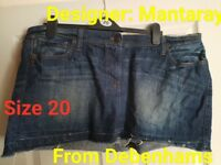 Ladies size 20 Desiner Mantaray Denim Mini Skirt