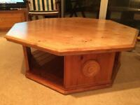 Solid Pine Hexagonal Coffee Table