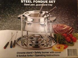 Steel Fondue Set with 6 Forks