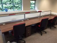 6 office desks with 6 chairs and 6 pedestals