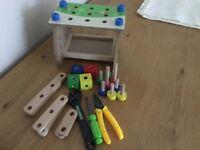 Wooden toy work bench