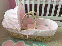 Beautiful baby girl Moses basket
