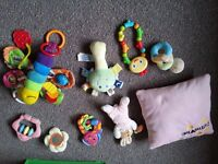 Lamaze butterfly and taggies rattles and small cushion, buggy pushchair pram baby toys