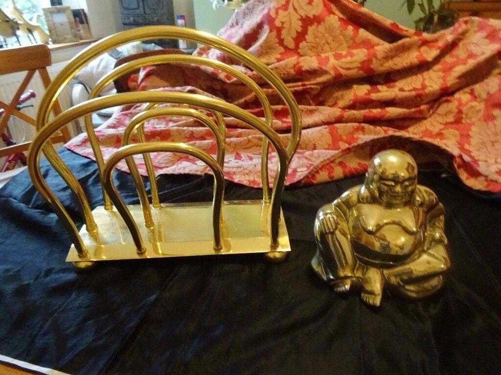 Large Brass Laughing Buddah and Magazine rack