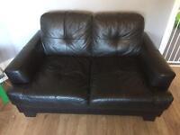 2&3 Seater Black Leather Sofa -FREE