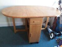 Wooden folding table with 4 chairs