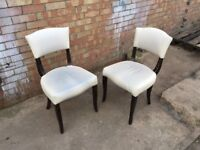 Pair of Cream Leather & Wood Restaurant Cafe Bistro Bar Pub Chairs Event