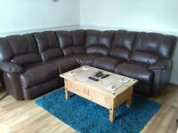 Leather recliner corner suite settee