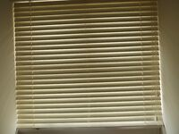 Ivory, wooden slatted venetian blind, complete with fittings.