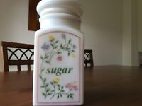 Summer chintz storage jar for sugar