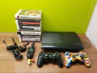 PLAYSTATION 3 PS3 SUPER SLIM CONSOLE 500GB WITH 15 GAMES BUNDLE PLUS EXTRAS