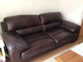 Chocolate brown leather sofa ( 3 seater)