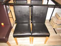 SET OF 4 DINING CHAIRS BLACK ARTIFICIAL LEATHER BRAND NEW