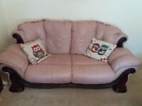 *Reduced* Large 3 piece suite, (sofa and 2 chairs), pink leather & wood