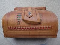 Vintage Tooled Brown Bag With Inside Pocket
