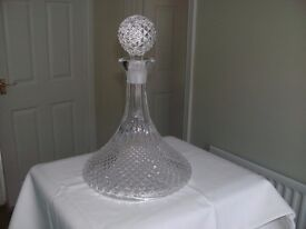 Cut Glass Ship's Decanter - vgc