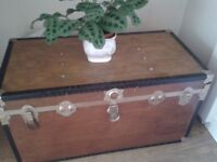 Fantastic Wooden leather and metal chest