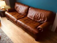 John Lewis brown leather Cordoba sofa - NOW SOLD