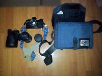 PRAKTICA B200 SLR 35MM FILM CAMERA + 3 LENSES + BAG + LENS COVERS + 1 FILTER