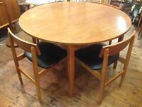 VINTAGE RETRO MID CENTURY TEAK ROUND EXTENDABLE TABLE & 4 CHAIRS G PLAN STYLE