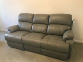 Unused Sofology grey leather 2 (non-reclining) &3 (reclining) seater sofas