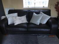 2 x brown leather sofa's