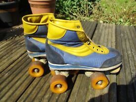 Retro Roller Boots Size 5 1980s Blue and Yellow Roller Disco Suede Vintage Collectable Nostalgia