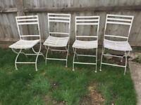 X4 metal fold up garden chairs