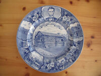 Vintage (1950s?) Adam's blue & white Old English Staffs Ware Lincoln's New Salem commemorative plate