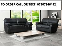 BRAND NEW 3+2 BLACK CANDY LEATHER SOFA FAST DELIVERY