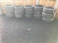 Tyres used as plant pots