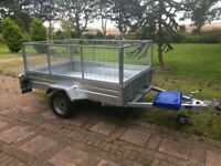 Single axle 8 x 5 caged trailer, brand new with cover, similar to Paxton or Apache