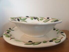 Olive Serving Plate, Bowl & Bread basket