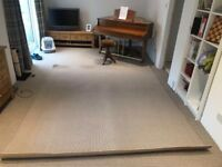 Carpet - brown and white stripes - used but ok condition, 100% wool