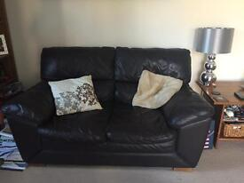 Chocolate Leather three seater and two seater sofa.