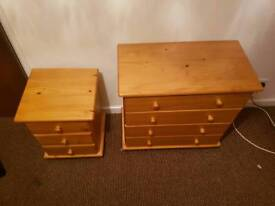 Chest of draws and bedside cabinet