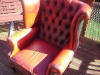 Leather queen ann high back chair