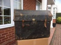 Vintage Antique Steamer Trunk Chest Domed Railway Luggage Travel Case c1900