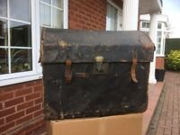 Leather Bound Steamer Travel Trunk Chest