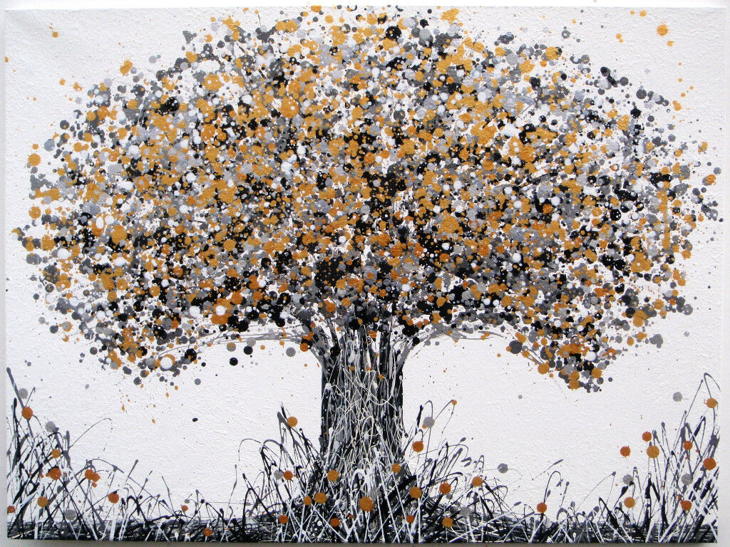 BLACK AND GOLD LARGE ABSTRACT NEW MODERN ART OAK TREE ...