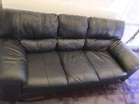 Black leather sofa suite