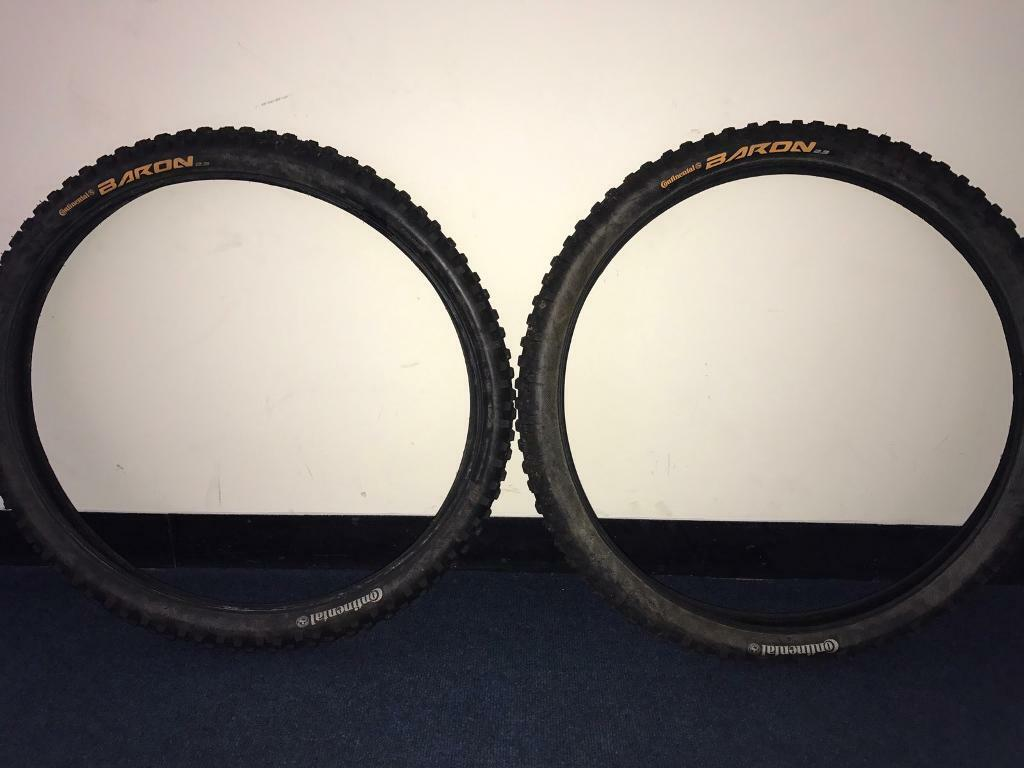 Continental baron mountain bike tyres X2in Gloucester, GloucestershireGumtree - A pair of hardly used continental baron MTB tyres. Still got loads of tread, except for a bit of mud they are as new. Grab a bargain!